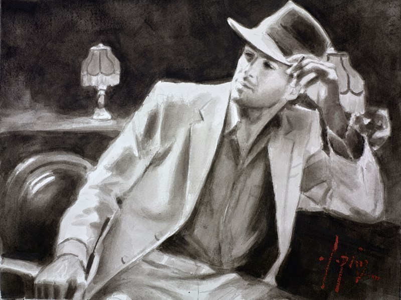Image: Man in White Suit V (In the Bar) (Ink) by Fabian Perez |